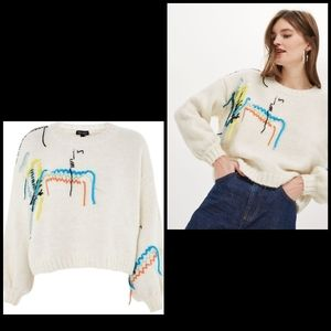 🦄 Topshop Undone embroidered oversized sweater S